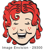 #29300 Royalty-free Cartoon Clip Art of a Happy Curly Red Haired Girl With Freckles, Laughing by Andy Nortnik