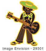 #29301 Royalty-Free Cartoon Clip Art Of A Cool Black Cat Playing A Guitar