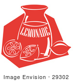 #29302 Royalty-Free Cartoon Clip Art Of A Jar Of Lemonade And A Sliced And Whole Lemon Resting On The Counter