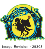 #29303 Royalty-Free Cartoon Clip Art Of The Headless Horseman Holding His Pumpkin Head Up High As His Horse Rears Up In A Haunted Forest Of Evil Trees