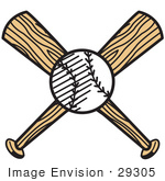 #29305 Royalty-free Cartoon Clip Art of a White Baseball Over Two Wooden Baseball Bats by Andy Nortnik