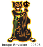 #29306 Royalty-Free Cartoon Clip Art Of A Black Cat Playing A Bass Fiddle In A Band