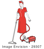 #29307 Royalty-Free Cartoon Clip Art Of A Red Haired Housewife Or Maid Woman In A Long Red Dress And Heels Using A Canister Vacuum To Clean The Floors