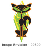 #29309 Royalty-Free Cartoon Clip Art Of A Mysterious Thin Black Cat Sitting In Front Of A Green Diamond With The Moon And Stars