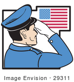 #29311 Royalty-Free Cartoon Clip Art Of A Military Man In Blue Saluting The American Flag On The Fourth Of July