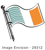 #29312 Royalty-Free Cartoon Clip Art Of A Green White And Orange Irish Flag Waving In The Breeze