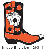 #29314 Royalty-Free Cartoon Clip Art Of A Black And Red Cowboy Boot With Playing Cards And Silhouettes Of A Spade Club Diamond And Heart