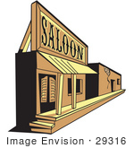 #29316 Royalty-Free Cartoon Clip Art Of An Old Saloon Facade In A Ghost Town