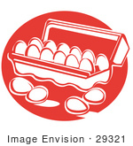 #29321 Royalty-Free Cartoon Clip Art Of Four Eggs Resting On A Counter Near An Open Egg Carton by Andy Nortnik