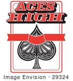 #29324 Royalty-Free Cartoon Clip Art Of An Ace Of Spades Playing Card With Text Reading Aces High