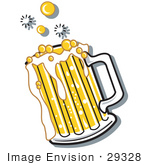#29328 Royalty-Free Cartoon Clip Art Of A Bubbly And Frothy Mug Of Beer Spilling Over The Rim Of A Mug