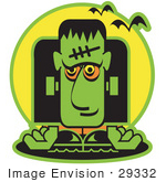 #29332 Royalty-free Cartoon Clip Art of a Green Frankenstein With Vampire Bats by Andy Nortnik