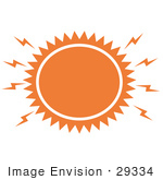#29334 Royalty-Free Cartoon Clip Art Of A Blazing Hot Orange Sun