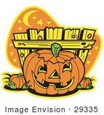 #29335 Royalty-Free Cartoon Clip Art Of A Halloween Pumpkin With A Carved Face Resting By A Fence At Night