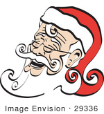 #29336 Royalty-Free Cartoon Clip Art Of A White Bearded Santa Being Jolly And Laughing