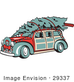 #29337 Royalty-Free Cartoon Clip Art Of A Red Woodie Car Carrying A Christmas Tree On The Roof Decorated In Christmas Lights And A Wreath