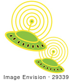 29339 Royalty-Free Cartoon Clip Art Of Two Green Ufos Flying In Space ...