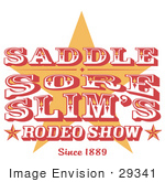 #29341 Royalty-Free Cartoon Clip Art Of A Vintage Rodeo Sign With A Star
