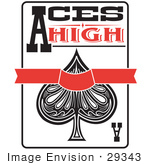 #29343 Royalty-Free Cartoon Clip Art Of An Ace Of Spades Playing Card With Text Reading Aces High
