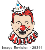 #29344 Royalty-free Cartoon Clip Art of a Jolly Freckled Boy With A Red Clown Nose, Party Hat And Collar, Laughing by Andy Nortnik