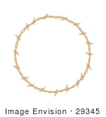 #29345 Royalty-Free Cartoon Clip Art Of A Circular Border Frame Of Barbed Wire Over A White Background