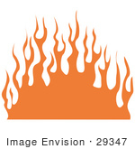 #29347 Royalty-Free Cartoon Clip Art Of A Wall Of Orange Flames
