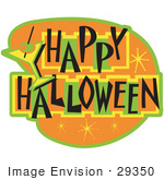 #29350 Royalty-Free Cartoon Clip Art Of A Happy Halloween Bar Sign