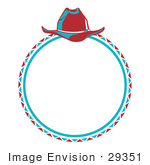 #29351 Royalty-Free Cartoon Clip Art Of A Cowboy Lasso And Hat In A Circle