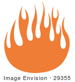 #29355 Royalty-Free Cartoon Clip Art Of Orange Flames Forming A Partial Circle