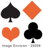#29358 Royalty-Free Cartoon Clip Art Of A Black Spade And Club With An Orange Diamond And Heart
