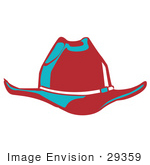 #29359 Royalty-Free Cartoon Clip Art Of A Red Cowboy Hat Cast In Blue Lighting
