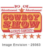 #29363 Royalty-Free Cartoon Clip Art Of A Vintage Advertisement For A World Famous Cowboy Show With Stars