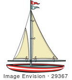 #29367 Royalty-Free Cartoon Clip Art Of A Toy Sailboat With Flags