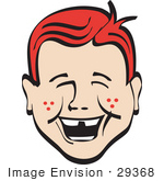 #29368 Royalty-Free Cartoon Clip Art Of A Happy Red Haired Freckled Boy With Missing Front Teeth Laughing