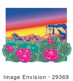 #29369 Royalty-Free Cartoon Clip Art Of A Flowering Cactus Plants In The Grand Canyon Desert