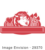 #29370 Royalty-Free Cartoon Clip Art Of A Pretty Shedevil With A Mole And Horns Over A Blank Banner