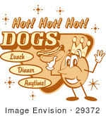 "#29372 Royalty-free Cartoon Clip Art of a Vintage Hot Dog Advertisement Showing A Circular King Character Holding A Hotdog And Text Reading ""Hot! Hot! Hot! Dogs Lunch Dinner Anytime!"" by Andy Nortnik"