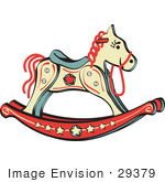 #29379 Royalty-Free Cartoon Clip Art Of A Child'S Rocking Horse With Star Decorations