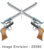 #29380 Royalty-Free Cartoon Clip Art Of Two Shiny Pistils Forming A Cross Over A White Background