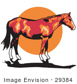 #29384 Royalty-Free Cartoon Clip Art Of A Brown Horse With White Feet Standing Against A Sunset