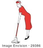#29386 Royalty-Free Cartoon Clip Art Of A Red Haired Housewife Or Maid Woman In A Long Red Dress And High Heels Using A Mop To Clean The Floors
