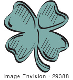 #29388 Royalty-Free Cartoon Clip Art Of A Lucky Green Clover With Four Leaves