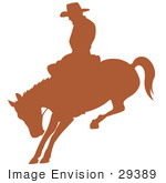 #29389 Royalty-free Cartoon Clip Art of a Brown Silhouette Of A Cowboy Riding A Bucking Bronco In A Rodeo by Andy Nortnik