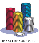 #29391 Royalty-Free Cartoon Clip Art Of A Stacks Of Red Yellow Blue And White Poker Chips In A Casino