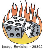 #29392 Royalty-Free Cartoon Clip Art Of A Pair Of White And Black Dice And Flames