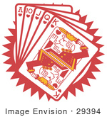 #29394 Royalty-free Cartoon Clip Art of a Hand Of Red Playing Cards Including The Ace Of Hearts, 10 Of Hearts, Jack Of Hearts, Queen Of Hearts And King Of Hearts by Andy Nortnik
