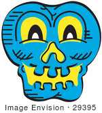 #29395 Royalty-Free Cartoon Clip Art Of A Scary Blue Halloween Skull Glowing With Yellow Light