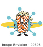 #29396 Royalty-Free Cartoon Clip Art Of A Popcorn Carton Character Filled With Buttery Popcorn