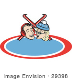 #29398 Royalty-Free Cartoon Clip Art Of A Happy Laughing Couple With Skis