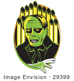 #29399 Royalty-Free Cartoon Clip Art Of A Green Phantom Standing In Front Of Pipes Of An Organ